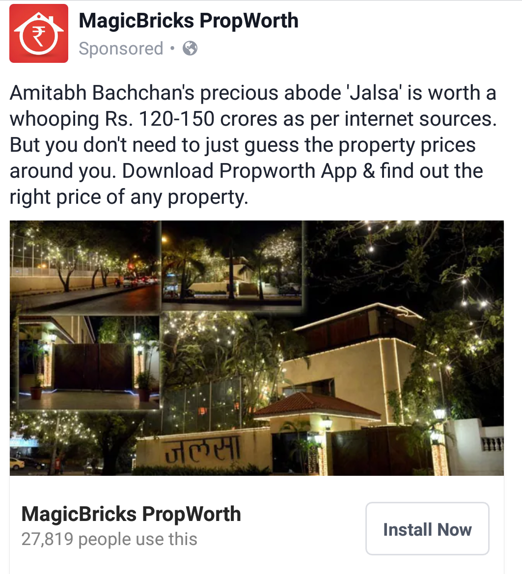 MagicBricks Propworth use of Amitabh Bachchan's Jalsa house in its marketing